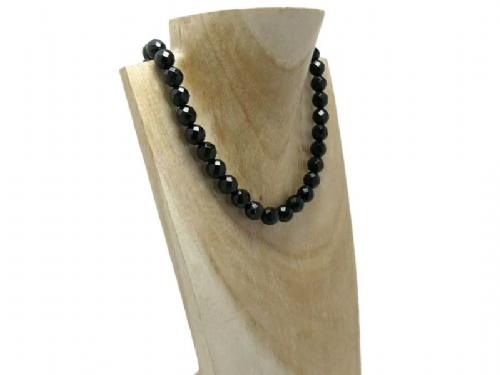 Faceted Black Onyx Bead Medium Chunky Sterling Silver Necklace